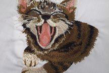 Вышивка котов / Машинная вышивка котов и кошек
