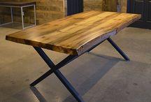 Live Edge Tables / Custom Dining Tables Made from Live Edge Wood - Walnut, Maple, Oak, Pine, Elm & Ash. Custom Metal Bases.
