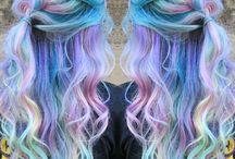Regnbue hår