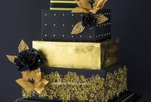 Black and Gold Cakes / Gold & Black makes for an impressive, unconventional or non-traditional wedding cake. Black & Gold is also a wonderful color scheme for graduation cakes, golden anniversary cakes, birthday cakes, or any special occasion cake.  Traditionally wedding cakes  #black #gold #wedding #art-deco #masquerade #cakecentral