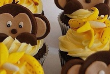 Monkey and banana cupcakes