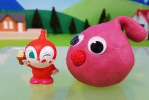 アンパンマンストップモーション❤粘土の中から飛び出せ!ドキンちゃん!アニメ&おもちゃ Anpanman toys