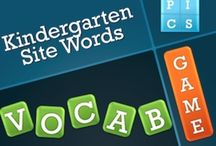 """4 Pics 1 Word Kindergarten Site Word Game / This game mimics the popular 4 pics 1 word game. It is set up perfectly for students to decipher the vocabulary words using the picture and letters given. One picture is always a """"rhyming"""" word to help give your students a clue. Once the student guesses the word correctly, you're just one click away from the actual word appearing. This game includes: *PowerPoint slideshow of 30 Site Words (31 slides) *Word Wall Printout of the 30 Site Words  #4pics1word #Kindergartensitewordgame / by Kim Cannon"""