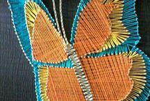 Hilorama / arte con madera tapizada usando clavos e hilo tensado