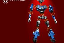 King-Rha / King-Rha is a magnetic robot, the magnets which are usually used for the Lego trains can be used to connect the components of this mecha.