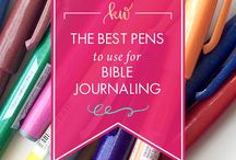 Bible Journaling Supplies / Pens, colored pencils, watercolors, templates, stickers and other art tools and supplies used for Bible Journaling