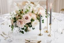Gold and blush wedding flowers