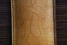 Tom & Jerry leather phone sleeve, handmade 100%