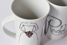 Wedding: Custom Sets / My hand-painted, personalized mug and cup sets. Check it out! :)