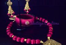Silk thread jewellery / Handmade silk thread or silk cord necklace