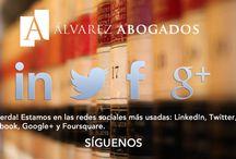 Redes Sociales / Alvarez Abogados Tenerife en tu smartphone y tablet. Síguenos en Facebook, Twitter, Google+, LinkedIn, Foursquare, Flickr, Youtube, Instagram,...