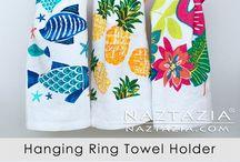 Crochet hanging tea towel
