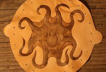 """Geldbeutel aus Leder """"Octopus"""" / Geldbeutel mit Octopus Maße: offen 22 cm Durchmesser Material: 2mm Kalbleder"""