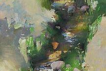 Watercolor,- art természet -víz,- kő