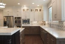 Arvada West 63rd Place / Multiple finishes were used to help break up the kitchen in this very large space.  Designers: Jared Caruso and Mark Fergenbaum