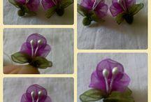 маленькие цветочки из органзы