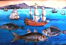 Nilgun Akyol  reverse- glass paintings / reverse glass painting-underglass painting-camaltı resim