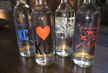 Etched Serving Bottles / Etched and hand painted serving bottles - great gifts for hosts, holidays, family, friends and of course - yourself!