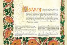 Ostara - Spring Equinox / Ostara marks the first true day of spring. The Goddess blankets the Earth with fertility,   bursting forth from her sleep, as the God stretches and grows to maturity. He walks   the greening fields and delights in the abundance of Nature.