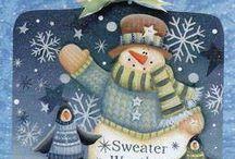 snowmen / bonhommes de neige / paintings peindre les bonhommes de neige c'est reconfortant!