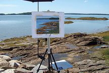 Plein Air Painting Tips  / Articles and images that feature tips and tricks on plein air painting and setup