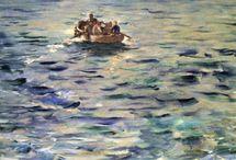 """impresjonizm / sztuka końca XIX w nazwa- obraz Claude'a Monet'a """"Impresja wschód słońca """" (z franc impresja = wrażenie ) nowa technika malowania >kładzenie obok siebie drobnych plam z palety widma słonecznego > pozbawienie obrazu ostrości , efekt zamglenia  zadanie malarza- oddanie nastroju chwili , ulotnego wrażenia uwypuklono rolę oświetlenia  jasne , intensywne barwy   Eduard Manet  Claude Monet  Auguste Renoir  Edgar Degas  Auguste Rodin (rzeźbiarz ) Władysław Podkowiński  Józef Pankiewicz  Camil Pisarro"""