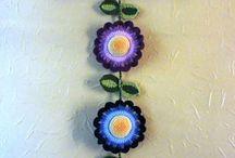 Crochet flower hanging