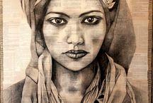 Esquisses colorées / peintures, scultures africaines