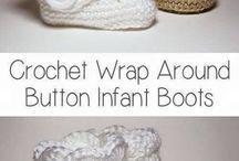 Crocheting baby booties