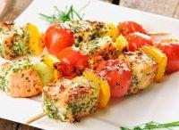 Lachs Spieße mit Gemüse