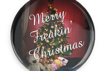 Christmas Buttons / Funny Buttons - Custom Buttons - Promotional Badges - Christmas Pins - Wacky Buttons
