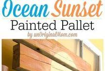 Sunset theme bedroom / Sunset pallet art