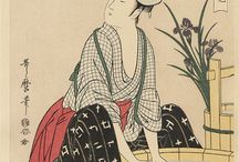 "Kitagawa Utamaro / (1753 - 1806) Japanese artist. He is one of the most highly regarded designers of ukiyo-e woodblock prints and paintings, and is best known for his bijin ōkubi-e ""large-headed pictures of beautiful women"" of the 1790s. He also produced nature studies, particularly illustrated books of insects."