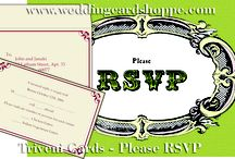 "TRIVENI CARDS - RSVP PLEASE / TRIVENI CARDS - RSVP PLEASE  Description :	This is a single sheet card, the RSVP details of the card is printed on the sheet and then put in a printed envelope as shown.  Size:	5.0"" X 3.5""  http://www.weddingcardshoppe.com/rsvp-folding-card-enlarge3.htm"