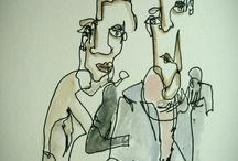 akvarelové obličeje