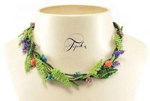 Wianek - nature necklace with fern and flowers