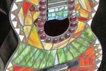 Mosaic Guitars by Lisa Eisenhardt / Mosaic guitars, mosaicked instruments, mixed media guitars