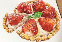 disegni frutta e verdura funghi