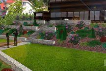 Ogród przydomowy na skarpie / projektowanie i zakładanie ogrodów