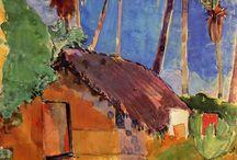 Hut under the coconut palms - Paul Gauguin. Watercolour