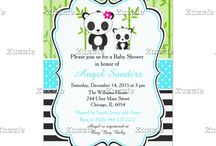 Blue Panda Baby Shower / This collection features a cute panda mother and baby. Perfect for Baby Shower! The background consists of bamboo shoots, a bright blue polka dot ribbon and black stripes.