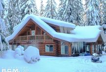 Leavenworth WA Winter Cabin Retreat / A gorgeous winter retreat for this family in #Leavenworth, #Washington. We designed this floor plan in 2012, this is the finished project. It's a magical place to sit by the masonry stove when the house is the buried in heavy snow! #loghomedesign #logcabindesign #floorplans