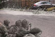 Ghosts of Arnhem '44 / Corresponding to the nine day ordeal the Red Devils of the British 1st Airborne found themselves at Arnhem, this series tells the story day by day. See http://www.wo2actueel.nl/artikel/2569/Fotoverslag-Market-Garden-Toen-en-Nu.htm for the originals and http://ifthenisnow.nl/nl/artikelen/arnhem-september44-9-dagen-in-de-heksenketel#overlay-context=nl/user for the full series.(By Jeroen Gijselhart)    Thanks to Toen-nu-Koos for the original photo's.