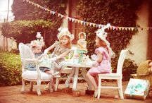 Tea Party Events  / Inspiration: Alice, tea, teacups, teapot, ribbon, blue, cards, hearts, queen, vintage banners, signs, tea party shoes, hats, tea sandwiches, scones, cookies, petite fours....
