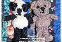 Findlay Bear and Flora Panda, Knitted teddy bears