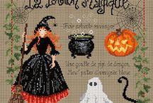 Halloween+Autumn cross stitch / All Saints Eve