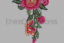 Aplique flores bordadas