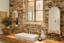 Bathroom Ideas / I live in a log home and remodeling a couple of our bathrooms. If the sky was the limit, these are some fun ideas.