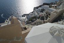 Santorini / Coasting on the back of a Vespa clinging to an American.