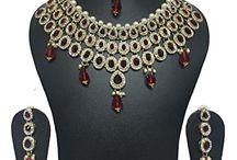 Traditional Indian Wedding Party Kundan Jewelry Necklace Set